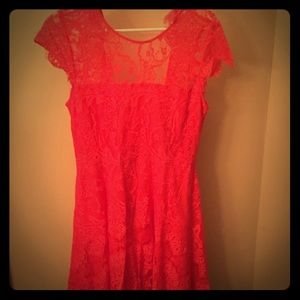 BB Dakota Coral Lace Overlay Dress